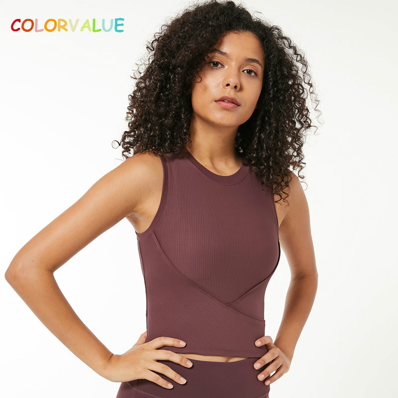 Colorvalue Stretchy Ribbed Fabric Workout Fitness Crop Tops Women Slim Fit O-neck Yoga Gym Athletic Tank Top Running Vest XXS-L