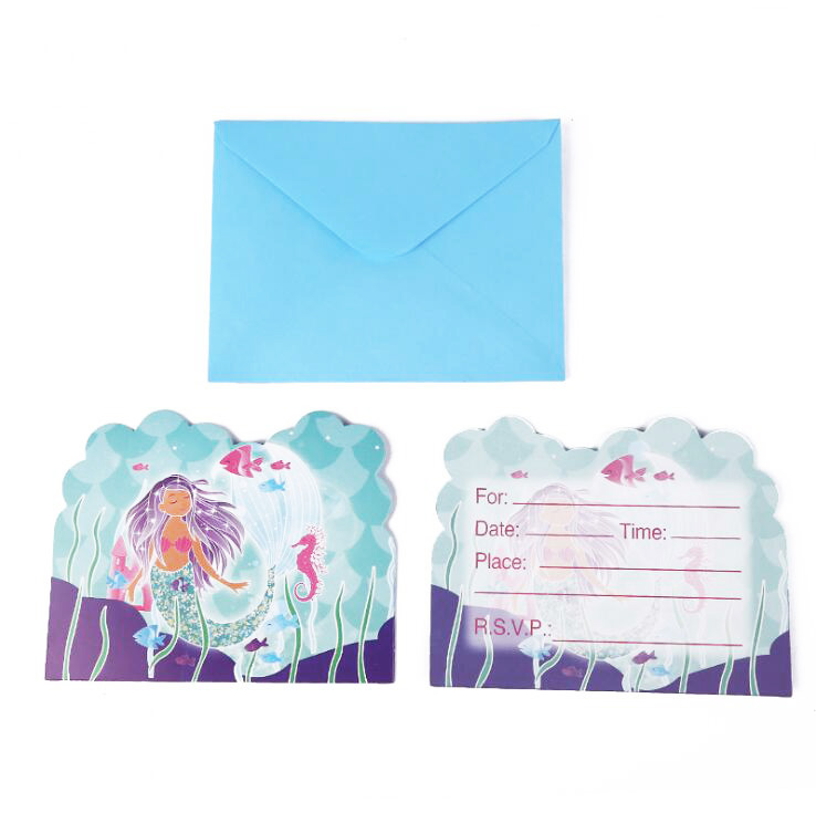 Us 0 94 31 Off Little Mermaid Invitation Card Kids Birthday Party Supply Event Party Supplies Party Decorations Kids Baby Shower In Disposable Party