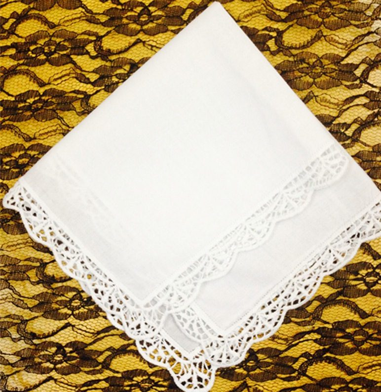 Set Of 12 Fashion Cotton Hankerchiefs 12-inch Wedding Handkerchief Sweet Heart Hankie Vintage Lace Hanky For Bride/Ladies/women