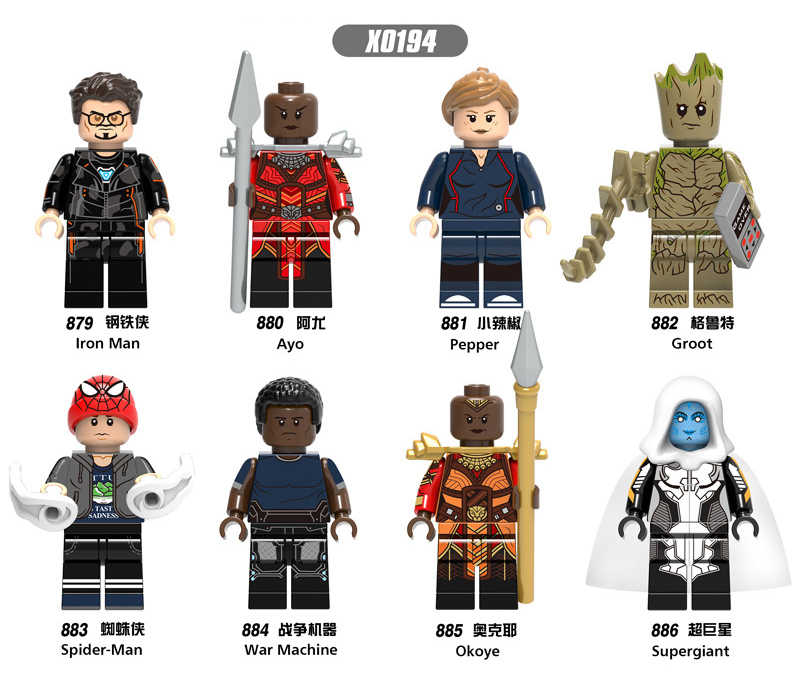 X0194 LegoINGly Avengers Captain Marvel ANT Super HERO Spider Iron Man grout supergiant WASP อาคารบล็อกของเล่นสำหรับ Childre