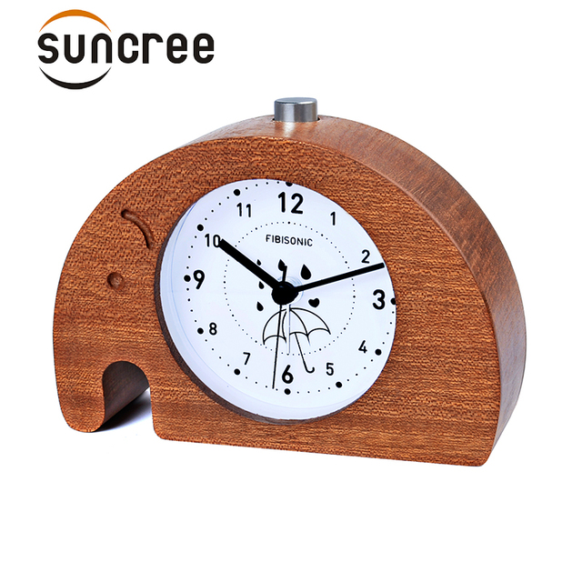 Elephant Modern Snooze Sweep Movement Backlight Wood Alarm Clock For Gift  Wooden Desktop Table Alarm Clocks  Saat Despertador