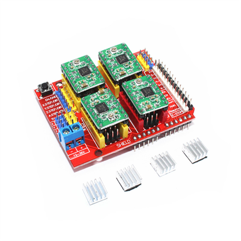 4x A4988 Stepper Motor Driver with Heat Sink +CNC Shield Expansion Board for Arduino UNO R3 V3 Engraver 3D Printer funduino 3d0073 fr4 expansion board 4 stepper motor drives funduino uno r3 board kit for arduino