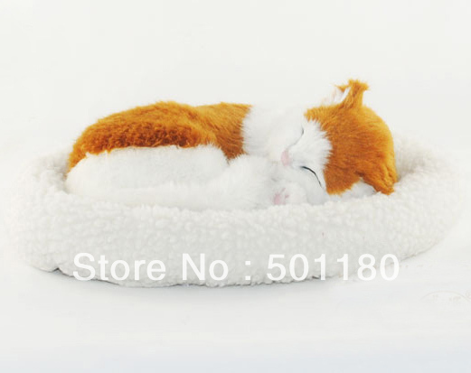 Free Shipping Plush Breathing Cat Toy Real Looking Cat Animal Toy In