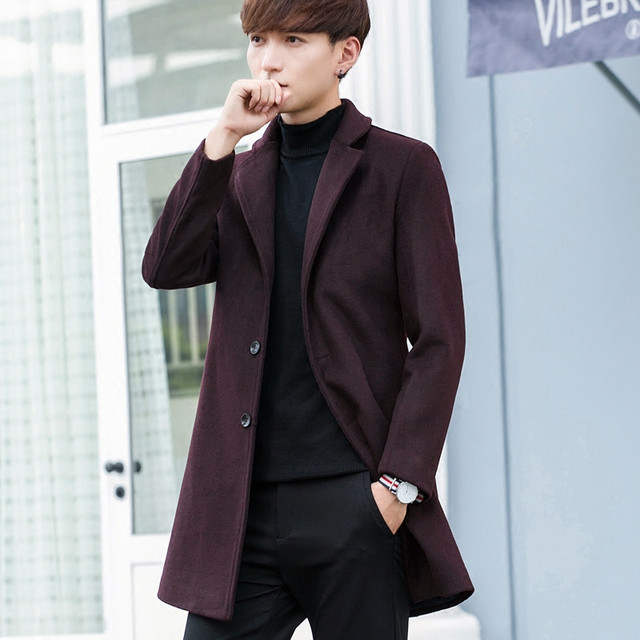 TEAEGG Turn Down Collar Casual Winter Wool Coat Men Blends Abrigo Hombre Invierno Thick Wine Red Mens Overcoat Outwear AL576 3