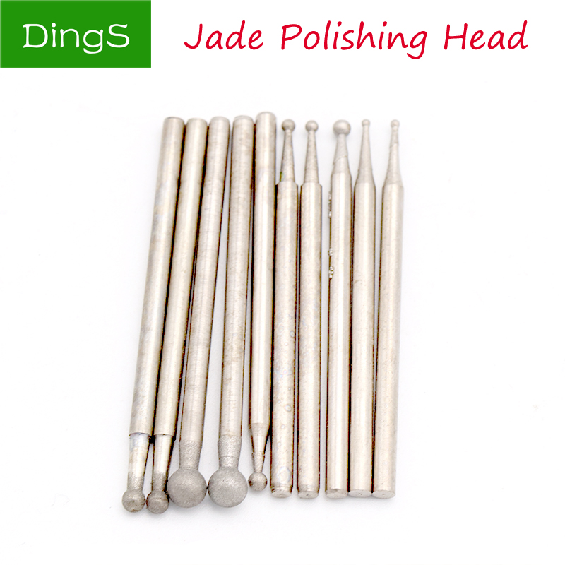 5pcs 2.35mm Shank Round Diamond Spherical Polishing Grinding Head Mounted Points Drill Bit For Jade Dremel Rotary Tools F Needle