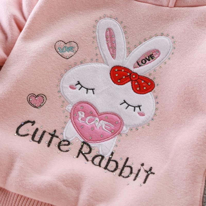Girls Sweatshirts Hoodies Children Clothing Autumn And Winter Baby girl Thick Cotton Tops Kids Cute Cartoon Rabbit Hooded Coat 4