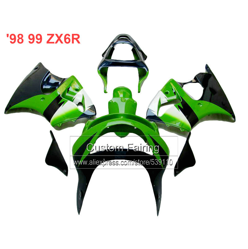 green black Motorcycle fairings for Kawasaki zx6r 1998 1999 Ninja 636  zx 6r fairing kit 98 99  xl05