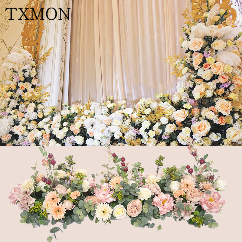 Wedding decoration props simulation silk flower stage background T stage road lead flower wedding arch flower