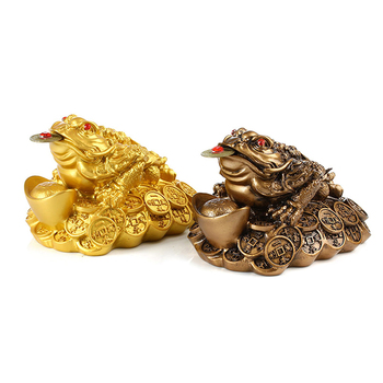 1PCS Lucky Gift Wealth Chinese Feng Shui Money Frog Toad Coin Ornaments For Frog Toad Coin Home Office Decoration Ornaments 1