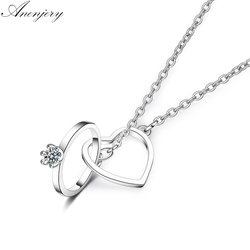 ANENJERY 925 Sterling Silver Charming Double Circle Heart Zircon Necklace For Women Girl Valentine's Day Present S-N261