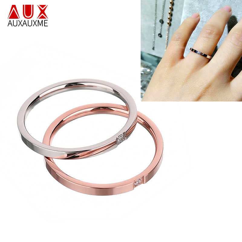 Auxauxme Titanium Steel 1mm Thin Ring With CZ Stone Steel Rose Gold Couple Engagement Wedding Bands Female Finger Ring 5-10