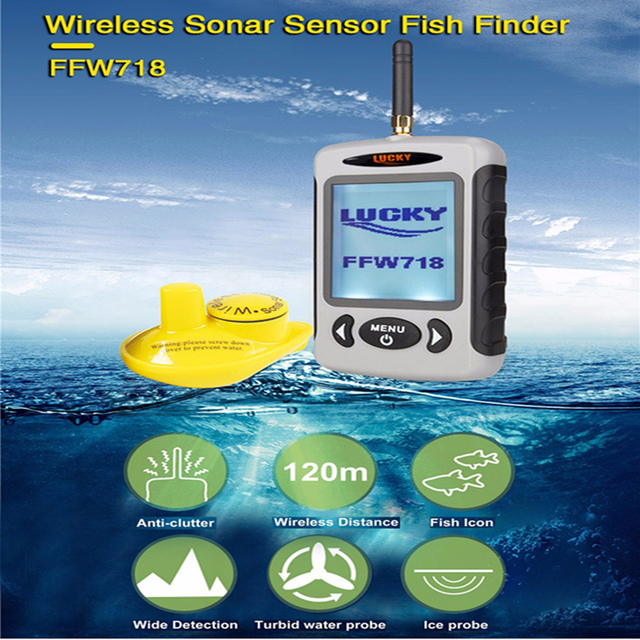 LUCKY FFW718 Wireless Fish Finder Sonar Sensor Transducer Detector For Fishing Visual Display 2.2 Inch LCD Sonar Fishfinder