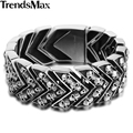Trendsmax 25.5mm Wide 21.6cm Long Boys Mens Chain Carved Skulls Arrow Link 316L Stainless Steel Bracelet HB375