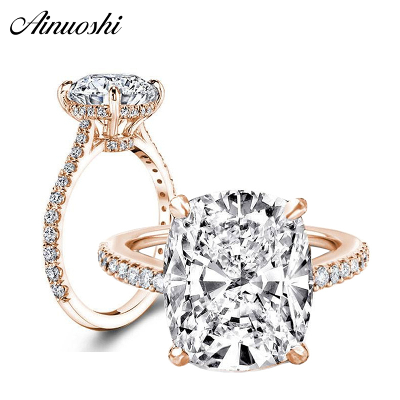 AINOUSHI Luxury 6 Carat Cushion Cut Ring High Setting Halo Engagement Wedding Bridal Band Rose Gold Color Silver Rings for Women