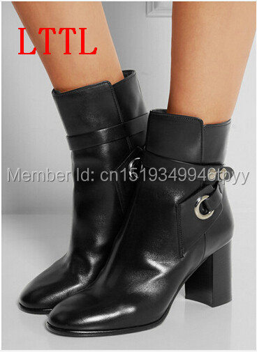 2016 New Arrival Women Ankle Boots Black Leather Boots Buckle Shoes Thick High Heel Motorcycle Boots new arrival superstar genuine leather chelsea boots women round toe solid thick heel runway model nude zipper mid calf boots l63