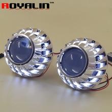 ROYALIN Car 2.5 Bi Xenon HID Projector Headlights Retrofit H1 Mini Lens LED COB Angel Eyes White DRL for H4 H7 Auto Replace Part