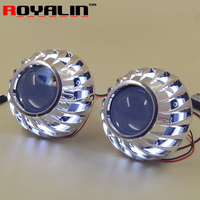 2 5 H1 Bi Xenon Lens Projector Headlights With 80mm Dual LEDs COB Angel Eyes Halo