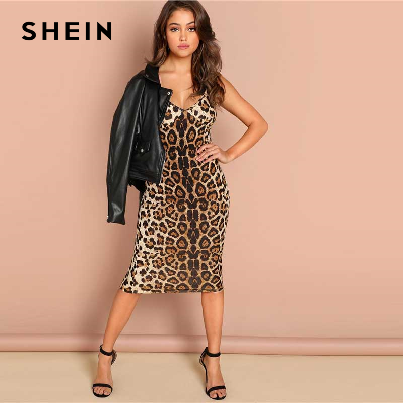 SHEIN Multicolor Sexy Party Backless Leopard Print Cami Sleeveless Pencil  Skinny Club Dress Autumn Night Out Women Dresses-in Dresses from Women s  Clothing ... b9ada6ae7ed4