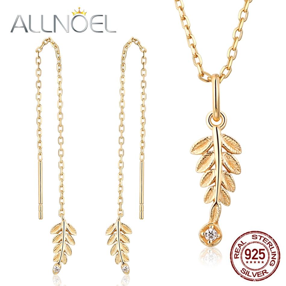 ALLNOEL White Zircon Gemstone Fine Jewelry Sets For Women Diamond Necklace Earrings 100% Sterling Silver 925 Gold Wedding Gift