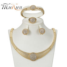 MUKUN 2018 Exquisite Dubai Jewelry Set Luxury Gold Color Nigerian Wedding African Beads Jewelry Set Costume Design jewelry set(China)