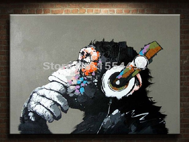 Framed Hand Painted Large Canvas Oil Painting Cartoon Animal Gorilla Monkey  Headphones Music Wall Art Childrenu0027s