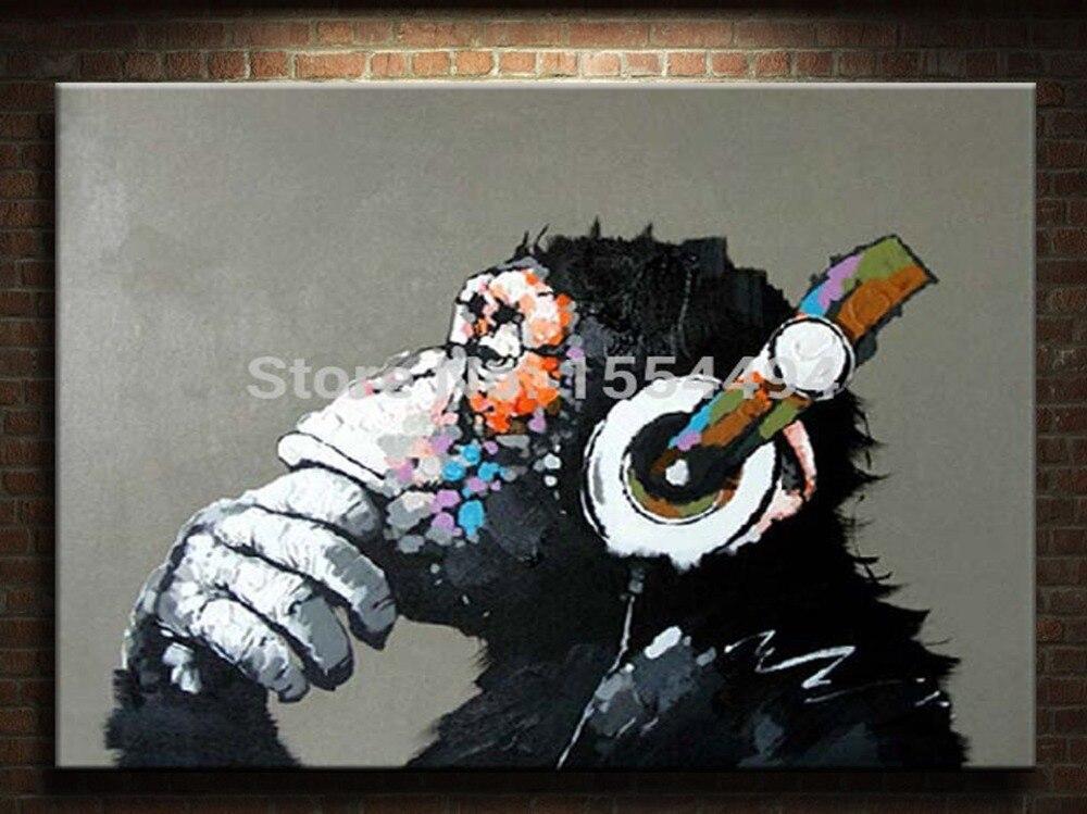 Gerahmte Handgemalte große Leinwand Ölgemälde Cartoon Tier Gorilla ...