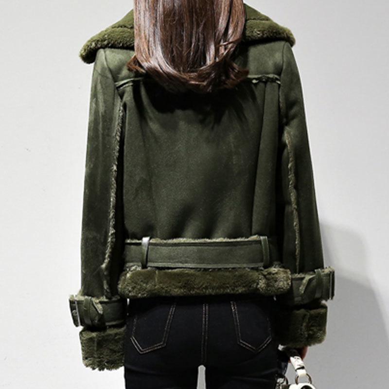 Del 2019 Delle Spessore Armygreen Lana Vestiti Faux Di Pelle Con Caldo Donne Outwear Breve Oke09 Size Inverno Scamosciata Cintura Giacca Cappotto Streetwear Plus Agnello q8rwt8