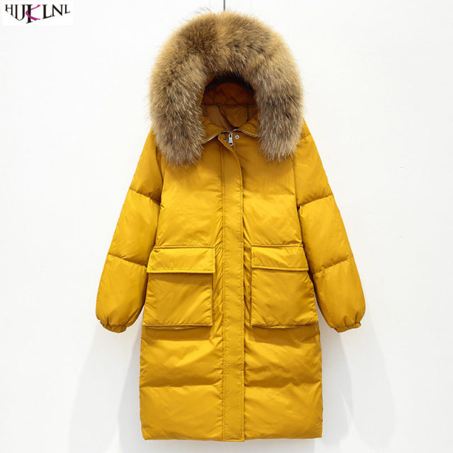 e292cb153b4dd 2018 New Women Winter Down Jacket Loose Long Jacket Yellow Fur Hooded Coat  Solid Casual Outer