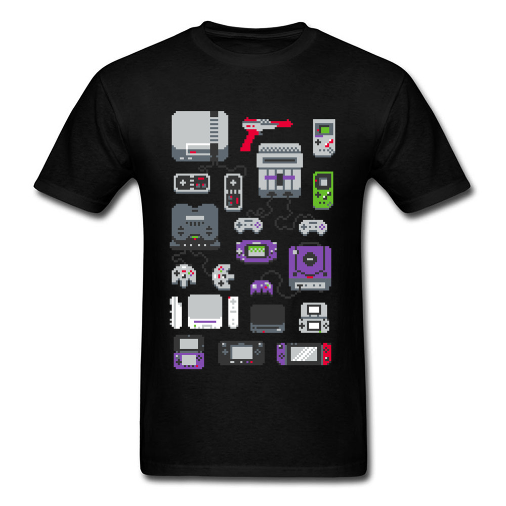 Newest Printing Men T Shirts Control Device Game Tshirt 100% Cotton High Tees Super Pixel Image Youth College Student T-Shirt