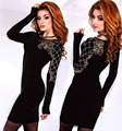 Full Sleeve O Neck vintage sheath mini dress ladies crystal printed party dresses