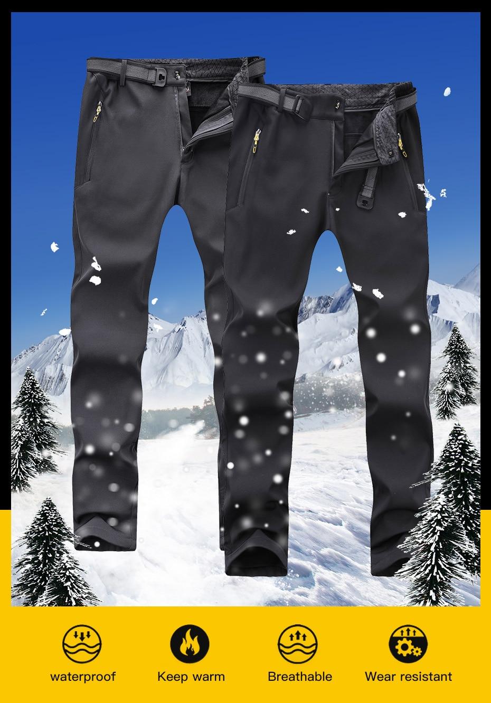 Fleece Warm Winter Hiking Pants Waterproof Softshell Trekking Pants Hunting Trousers (2)