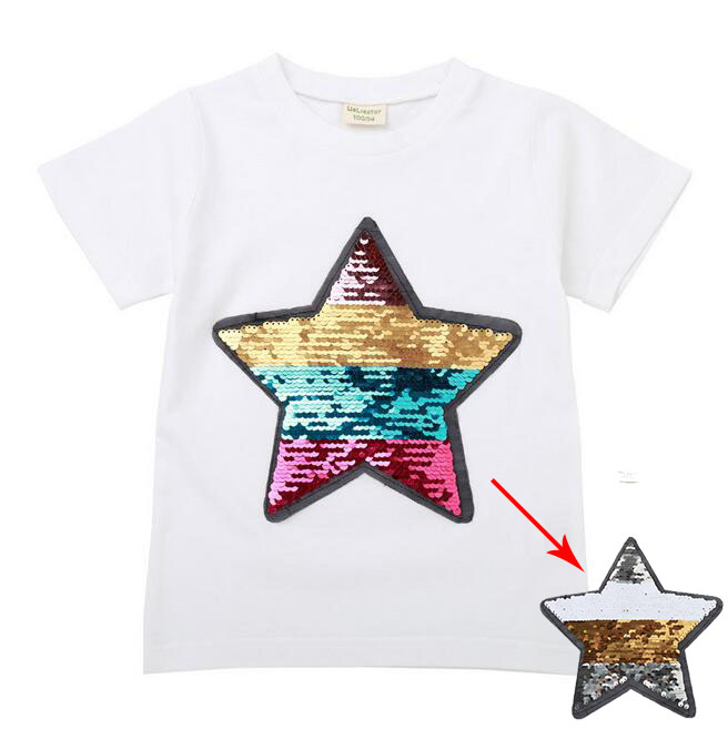 new arrive girls fashion cartoon stars sequin change color t shirt for 2-8T years image