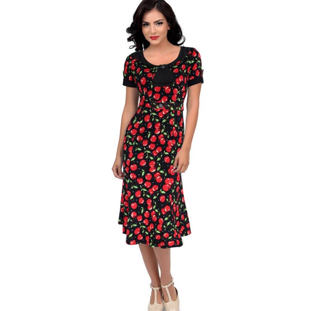 Платья с принтом вишня