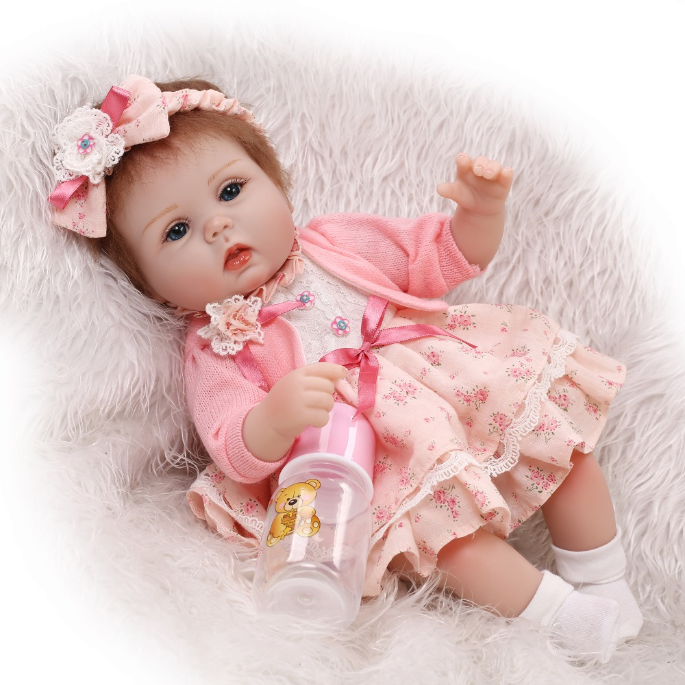 Truly Real 17 Inch Reborn Dolls Girl Baby Newborn Lifelike Babies Handmade Doll Toy With Rooted Mohair Kids Birthday Xmas Gift  realistic full vinyl 18 inch american doll girl baby reborn newborn dolls so truly real princess girls kids birthday xmas gift