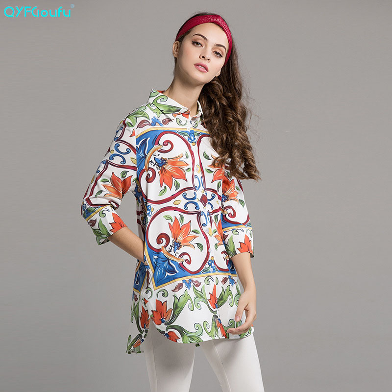 8c6f2c66850 High Quality Vintage Blouses Women Tops Floral Print Long Sleeve Shirt  Ladies Work Wear Office Fashion Casual Long Blouse in Pakistan