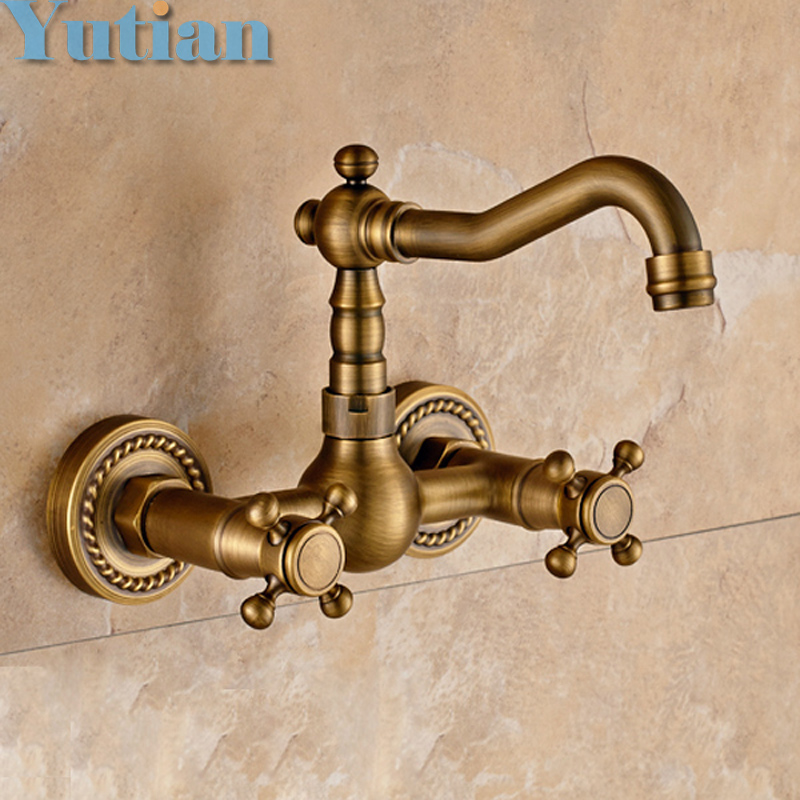 Free shipping Kitchen Faucet torneira wall mounted Antique Brass Swivel Bathroom Basin Sink Mixer Tap Crane,YT-6035 купить