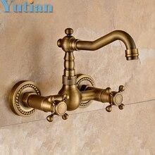 Free shipping Kitchen Faucet torneira wall mounted Antique Brass Swivel Bathroom Basin Sink Mixer Tap Crane,YT-6035