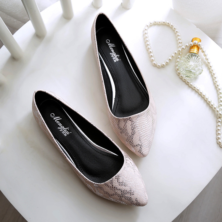 Pointed Toe Summer Shoes Ladies Flat Shoes 2017 Spring Small Size 33 Big 41-45 Single Shoes Women Snake Skin Pattern Schuhe meotina brand design mules shoes 2017 women flats spring summer pointed toe kid suede flat shoes ladies slides black size 34 39