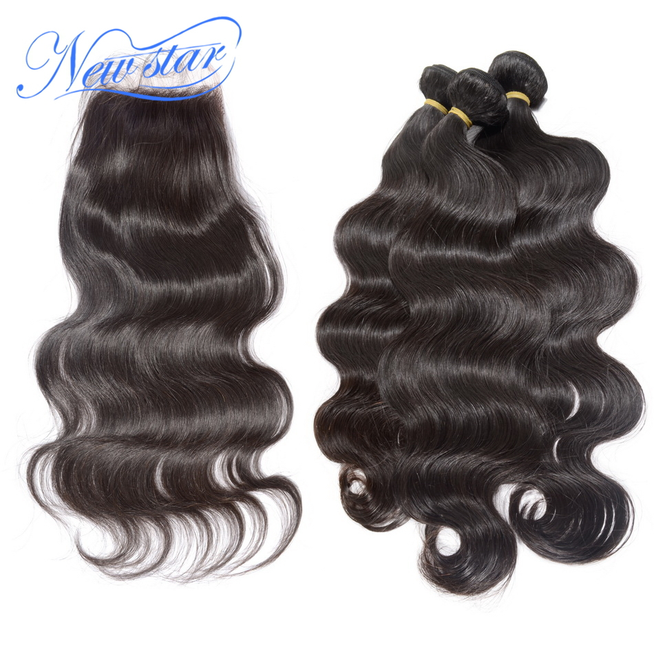 New Star Brazilian Virgin Hair Body Wave 3 Bundles Weave With A Free Or Middle Part Lace Closures Unprocessed Human...