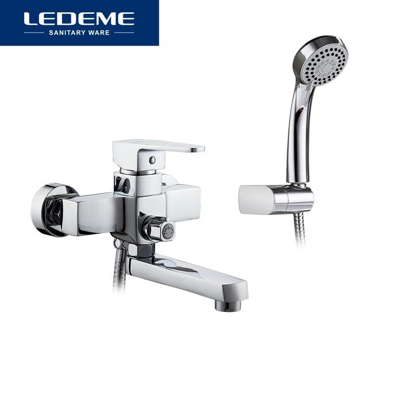 LEDEME classique robinet de baignoire bain douche salle de bain mural robinet de bain ensemble mélangeur eau chaude et froide poignée unique L3130 - 6