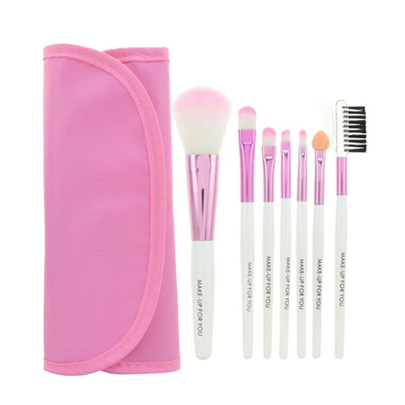 7pcs/set Makeup Brushes Set Kit With Bag Case Blush Eyeshadow Lip Brushes Powder Foundation Blending Beauty Tools 4 Colors