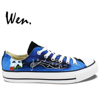 Wen Unisex Hand Painted Shoes Custom Design Phantom of the Opera Low Top Men Women's Blue Canvas Shoes Birthday Gifts