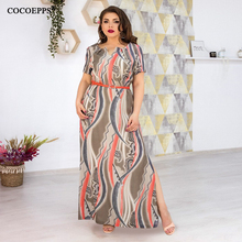 5xl 6xl long maxi dress big size with belt print plus size dress summer beach boho casual dress elegant women dress large size cartoon print dress with belt