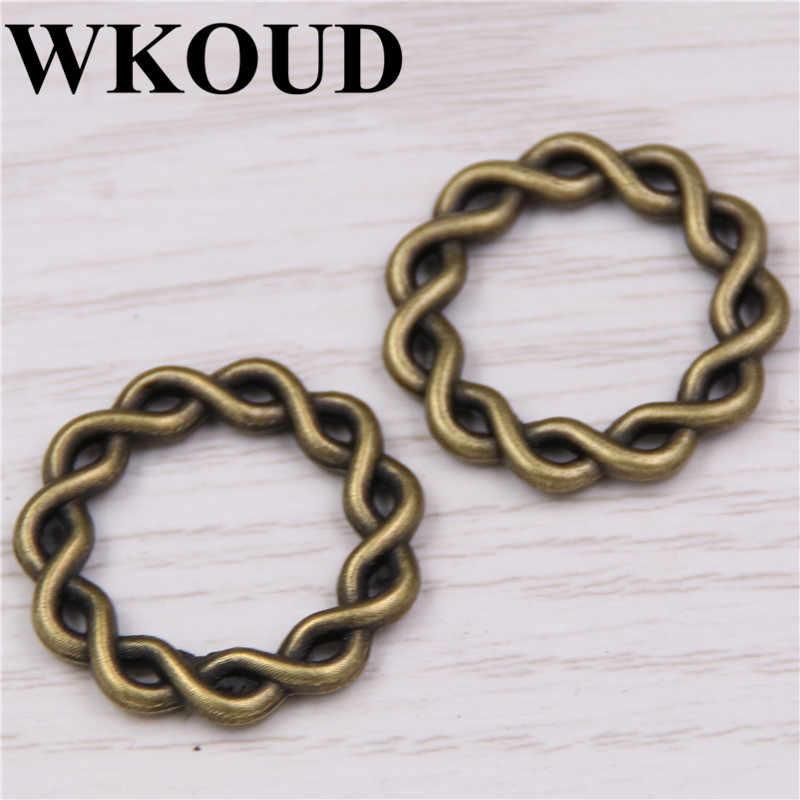 WKOUD 30 pcs bronze โบราณขี้ผึ้งวงกลมแหวน Charms สร้อยข้อมือ DIY แฟชั่นเครื่องประดับ 20 มม.