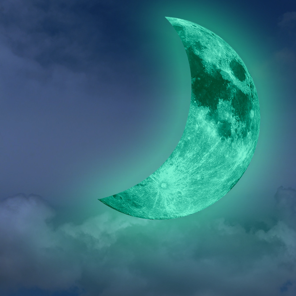 Funlife(TM) Luminous Crescent Moon Wall Sticker,Glow in ...
