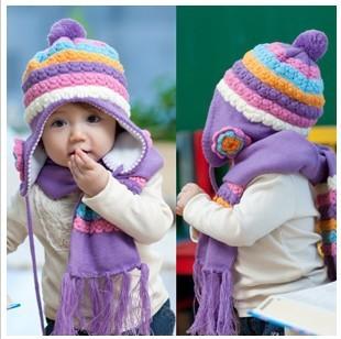 Free shipping winter pineapple flowers children hats & scarf sets baby pocket beanie boy earflap girl skullcap retail Lc13091603