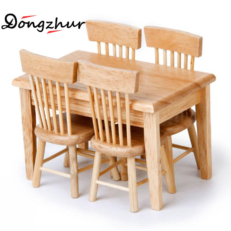 Dollhouse Miniature 1:12 Chalet Restaurant Combination Dining Table Chair Furniture  Doll House Wooden Toy House Accessories In Doll Houses From Toys ...