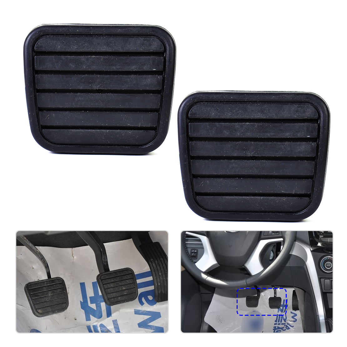 beler New 2x Rubber Car Clutch Brake Pedal Pad Cover For Great Wall V200 Man Dual Cab Pick-Up RWD 2012 2013 2014 2015 2016