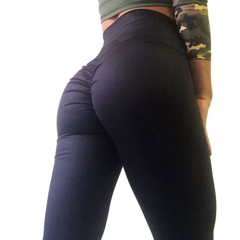 Hayoha Fashion Bottom Wrinkles Push Up Leggings Women Fitness Slim Jeggings High Elastic Wicking Dry Quick Sporting Pants