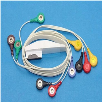 Free Shipping Compatible for Mortara and Quinton H12 12 Channel Telemetry ECG Holter Cable with 10 Leadwires, snaps end image